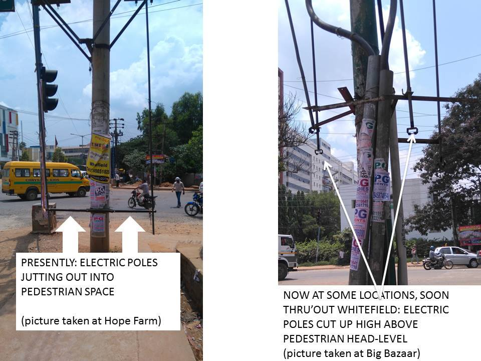 BESCOM TRIMS ELECTRIC POLES THROGHTUT WHITEFIELD TO PREVENT COLLISIONS WITH PEDESTRIANS.