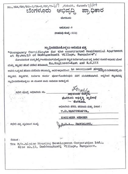 Occupancy Certificate