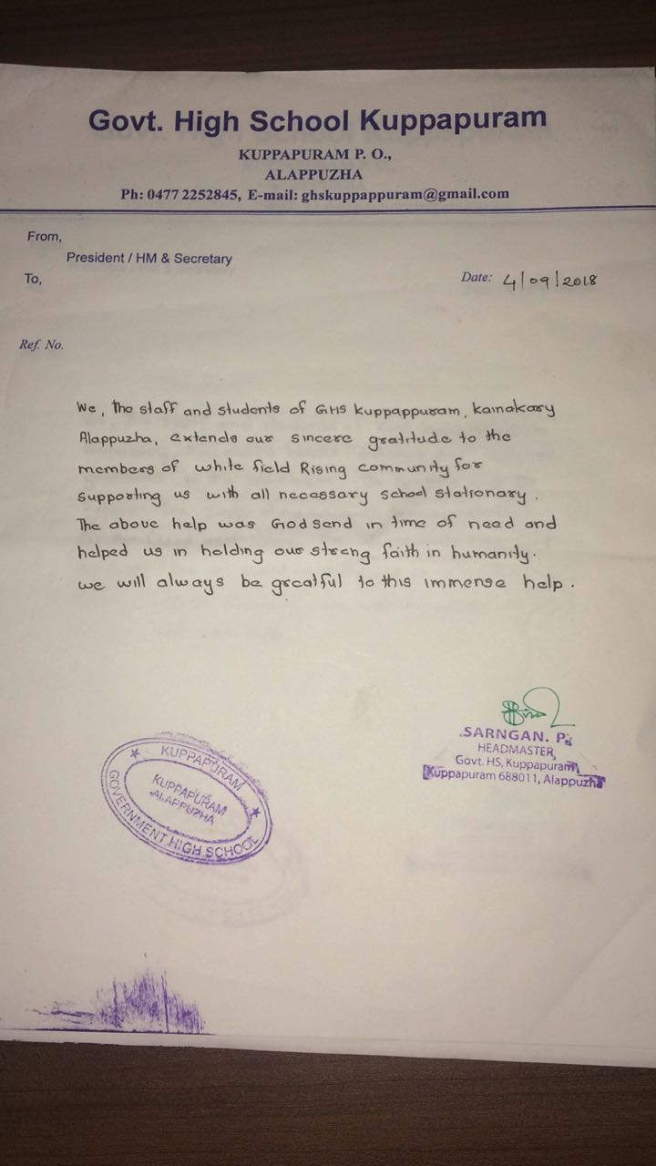 Whitefield reaches out to Kerala