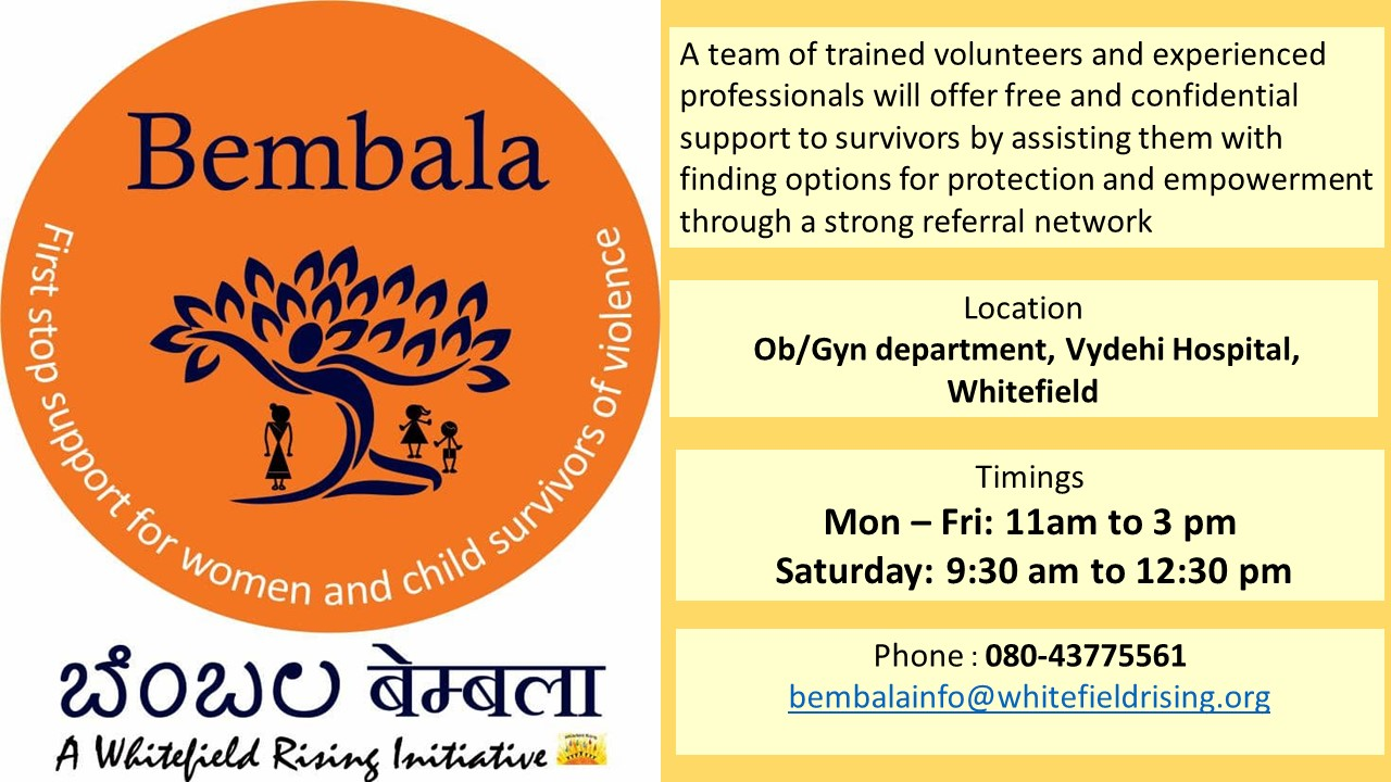 Bembala : Whitefield's First Stop Support Center for Women and Children