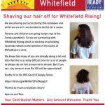 Shaving off hair for Whitefield Rising