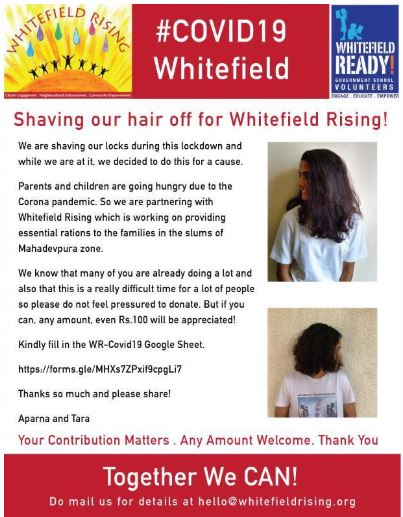 Shaving off hair for Whitefield Rising